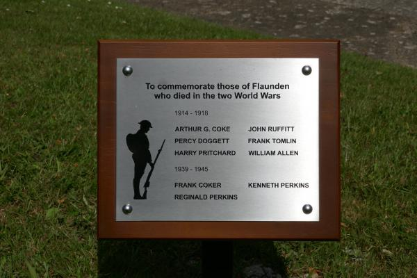 Plaque commemorating those of Flaunden who died in the two World Wars